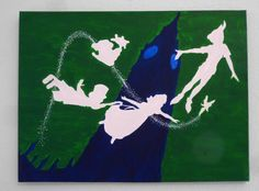 24x18 Peter Pan Silhouette Painting- Acrylic on Canvas- Hand Painted. $45.00, via Etsy.