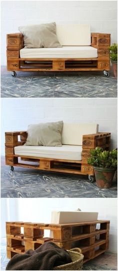Pallet sofa with wheels. Sofa made with pallets. Furniture with pallet tables. Pallet furniture Pallet sofa with wheels and glass. Sofa made with pallets. Furniture with pallet tables. Furniture of pallets. Pallet Furniture Designs, Wooden Pallet Furniture, Wood Pallets, Home Furniture, Furniture Ideas, Outdoor Furniture, Furniture Stores, Outdoor Couch, Pallett Garden Furniture