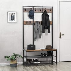 VASAGLE supply wholesale rustic and industrial style large standing coat rack for sale with factory. Click this link to get more detail information and price list if you are interested with VASAGLE coat rack for sale. Coat Rack Shoe Bench, Coat And Shoe Rack, Hat And Coat Stand, Coat Stands, Coat Racks, Coat Rack Ikea, Hall Coat Rack, Hallway Unit, Hallway Shelf