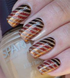 Metallic #gradient striping tape #manicure for #Fall