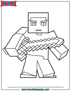 Herobrine With Sword Coloring Page