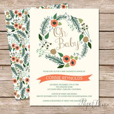 printed baby shower invitations / fall baby shower invitation / gender neutral baby shower invitations / floral baby shower invite
