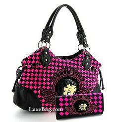 pink and black checkered clutch   Betty Boop Purse Wallet Set w Black and Pink Check Pattern   eBay