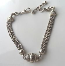 Antique Victorian Sterling Silver Fancy Chain Albertina Bracelet -T-bar Dog Nose