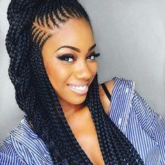 cheveux longs épais tresse africaine