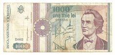 Mihai Eminescu o Mihail Eminovici fue un poeta del romántico tardío. Posiblemente es el poeta rumano más conocido a nivel mundial Dollar Bills, Banknote, Romania, Dan, Vintage World Maps, Notes, Collection, Money, Art & Literature