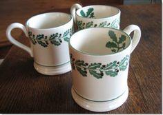 Emma Bridgewater ACORNS 0.5 pint mugs Pottery Cafe, Emma Bridgewater Pottery, Stoke On Trent, Acorn, Tea Time, Dishes, Mugs, Patterns, Country