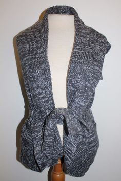 Forever 21 Sweater S Gray Charcoal Belted Thick Knit Dressy Cardigan #FOREVER21 #Cardigan