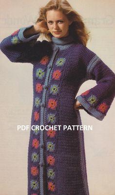 Vintage 1970's Long Granny Square Coat Crochet by KatnaboxCrochet