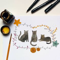 """Work in progress. #cats #illustration #watercolor #painting #floral #pen #kitten #animals"""