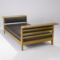 Rene Gabriel; Oak and Leather Daybed, 1950s.