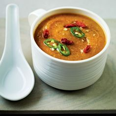Dale Pinnock's flu-fighter soup with ginger, sweet potatoes, chilli and mushrooms. For the full recipe, click the picture or see www.redonline.co.uk