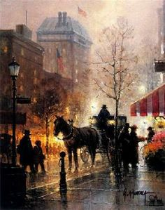 Harvey is well known for his cityscapes and western scenes including cowboys in cities - available on limited edition prints, giclee canvases and posters. Great Paintings, Beautiful Paintings, Original Paintings, Hand Painting Art, Oil Painting On Canvas, Art For Art Sake, Landscape Art, Home Art, Flower Art