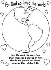 "free coloring pages of a world globe for children | For God So Loved the World""-Coloring Page"