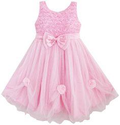 Mädchen Kleid Rosa Rose Bogen Binden Gürtel Hochzeit Party: Amazon.de: Bekleidung