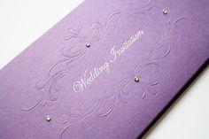 Vienna Embossed & Foiled Invitation Cadburys Purple - Vintage Wedding Stationery Scotland - VOWS Award Nominee 2013 Purple Wedding Stationery, Foil Wedding Invitations, Wedding Invitation Design, Dot Texture, Emboss, Vienna, Vows, Special Day, Scotland