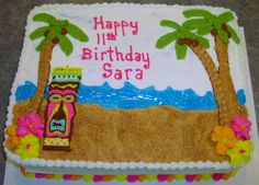 Tiki Party - This was a Tiki cake for an 11 year old girls birthday party.