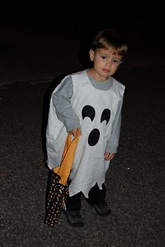 Easy costume from a pillow case!  Add a white beanie and leggings and paint face for extra touch.