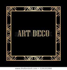 Vintage linear border. Geometric art deco style frame. Vector illustration. Geometric Art, Art Deco Fashion, Frames, Illustrations, Patterns, Logos, Artwork, Image, Style