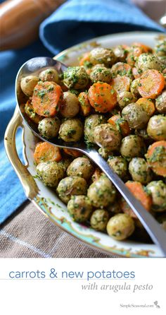 Carrots & New Potatoes with Arugula Pesto - roasted to perfection!