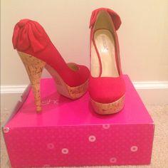 Red Platform w/ Bow Accent and Faux Cork Heel Size 8.5 Red platform with a flirty bow accent and 6 inch faux cork heel! - Never Worn Shoe Dazzle Shoes Platforms