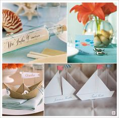 decoration mariage mer marque-place