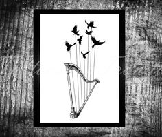 Music harp crows strings tattoo music tattoos Music by TRONYC
