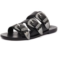 Sol Sana Peggy Slide Black (365 AED) ❤ liked on Polyvore featuring shoes, sandals, black leather shoes, black buckle sandals, black shoes, flat pumps and leather sandals
