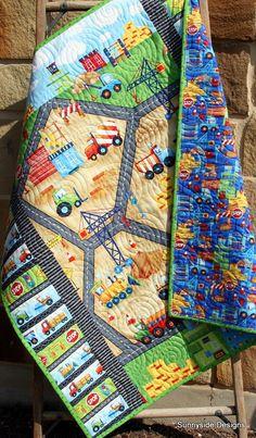 Baby Boy Quilt Construction Bedding Nursery by SunnysideDesigns2
