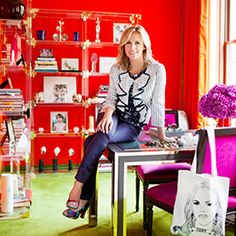 The corporate offices of Tory Burch, as well as the fashion designer's Southampton home, display truly effective use of color. In her weekend getaway, she mixes soft colors and neutrals to create a relaxing effect, and makes a sophisticated statement with silk coral curtains. In her office, she uses a trio of beautiful yet unique complementary colors — orange, green, and purple — to create a space that's inspiring and stimulating.