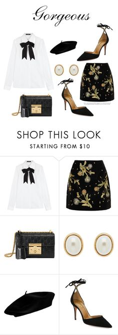 """""""638"""" by meldiana ❤ liked on Polyvore featuring Dolce&Gabbana, Topshop Unique, Gucci, Finesse and Aquazzura"""
