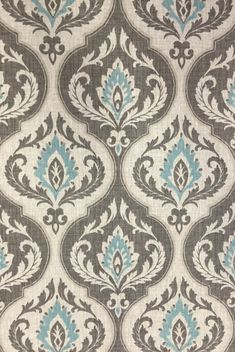 High end designer Custom fabric shower Damask Aqua by HomeandHome