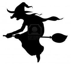 Silueta de bruja que volaba en escoba  Foto de archivo - 3286672