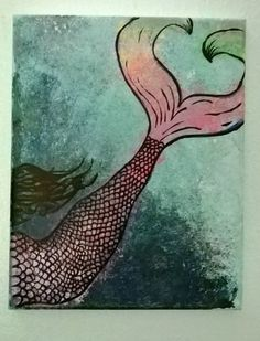 Original 8x10 acrylic painting. Mermaid tail. $40.00 from LittleElfCrafts