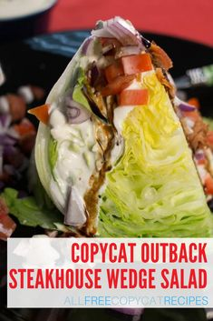 Make an Outback Steakhouse wedge salad tonight with this easy Copycat Outback Steakhouse Wedge Salad recipe. Outback Steakhouse Wedge Salad Recipe, Outback Salad, Wedge Salad Recipes, Blue Cheese Salad, Salad Topping, Dressing Recipe, Light Recipes, Copycat Recipes, Soup And Salad