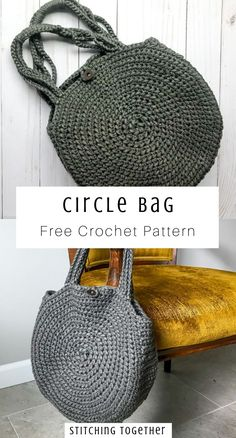Make the trendiest bag of the season with this easy crochet pattern. This circle. Make the trendiest bag of the season with this easy crochet pattern. This circle bag will quickly b Crochet Diy, Crochet Simple, Free Crochet Bag, Crochet Market Bag, Crochet Tote, Crochet Handbags, Crochet Purses, Easy Crochet Patterns, Crochet Circle Pattern