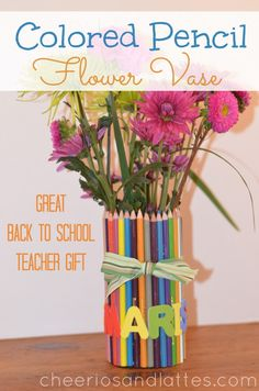 ~ PENCIL VASE (TEACHER GIFT) ~ Materials: Tin Can, Tacky Glue, Large box(es) of Colored Pencils, 1 Rubber band, Ribbon, Letter Stickers for decorating (optional)