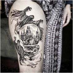 50 einzigartige Harry Potter Tattoos Ideen und Designs - Tattoo Motive 50 unique Harry Potter tattoos ideas and designs . Arm Sleeve Tattoos, Leg Tattoos, Body Art Tattoos, Cool Tattoos, Tatoos, Arrow Tattoos, Quarter Sleeve Tattoos, Shoulder Tattoos, Pretty Tattoos