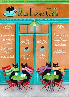 The Cat's Cafe  Original Acrylic Folk Art Painting by KilkennycatArt