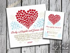 PRINTABLE, Love, Red Hearts, Wedding Invitation and RSVP by IrisPola, $35.00
