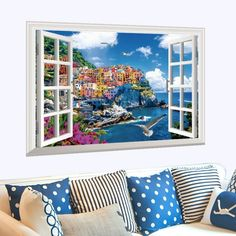 685a0a520 Mediterranean Style Fake Window Landscape Wall Stickers Modern DIY Home  Decor for Living Room Sofa Background Decoration