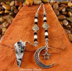 Tourmalinated Rainbow Moonstone Moon & Star Pendulum by StarshineBeads on Etsy