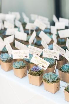 Succulent place cards + favors: http://www.stylemepretty.com/california-weddings/carmel/2016/03/19/rustic-carmel-valley-ranch-wedding/ | Photography: Carlie Statsky - http://www.carliestatsky.com/