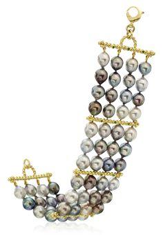 18K Tahitian and Tsavorite Bracelet Designed By The Mazza Company