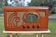 Goodyear Wooden Art Deco Radio | eBay