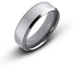 Titanium 7mm Beveled Edge Polished Comfort Fit Wedding Band