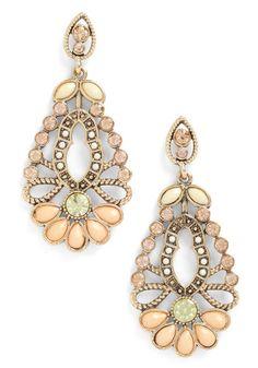 ModCloth Apricot Blossom Earrings - Lyst, Pantone Linen - SOOO feminine and pretty Jewelry Box, Jewelry Accessories, Fashion Accessories, Fashion Jewelry, Jewlery, Fall Jewelry, Summer Jewelry, Jewelry Trends, Bridal Accessories
