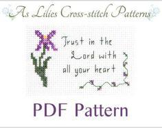 "PDF Cross stitch Pattern ""Trust in the Lord"" - Digital Download Pattern - Beginner Cross-stitch Pattern - Bible Verse Cross stitch Pattern"