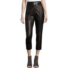 Vince Leather Carrot Pants (2430 TND) ❤ liked on Polyvore featuring pants, capris, black, leather pants, high-waist trousers, slim fit pants, high waisted tapered trousers and high-waisted leather pants
