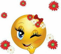 A happy wink smiley-girly. Love Smiley, Emoji Love, Cute Emoji, Images Emoji, Emoji Pictures, Smiley Emoji, Funny Emoticons, Smileys, Bisous Gif